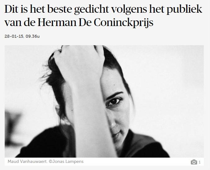 Dit is het beste gedicht volgens het publiek van de Herman De Coninckprijs  Poëzie  De Morgen - Google Chrome
